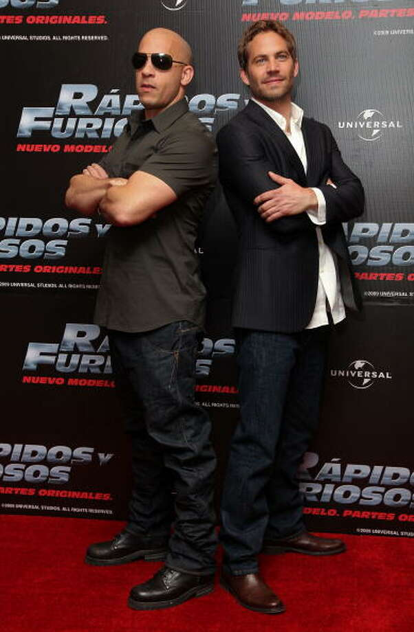 "MEXICO CITY - MARCH 27:  Actors Vin Diesel and Paul Walker attends the ""Fast & Furious"" photo call  at the Marriot Hotel on March 27, 2009 in Mexico City.  (Photo by Victor Chavez/WireImage) Photo: Victor Chavez, WireImage / WireImage"