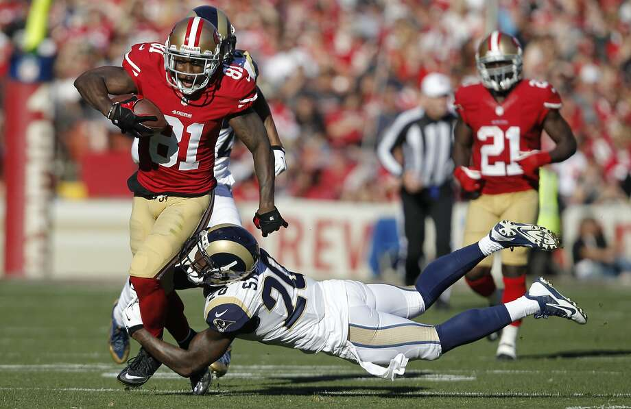 Anquan Boldin, shown picking up a first down against St. Louis, was one of the Niners' few healthy receiving options when Carolina beat them Nov. 10. Photo: Michael Macor, The Chronicle