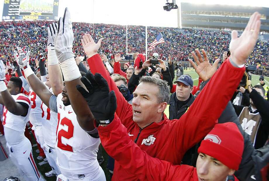Urban Meyer's Ohio State team is one of several with a strong argument for a spot in the BCS Champion- ship Game. It's possible that even if the Buckeyes run the table by beating Michigan State on Saturday, they might not play for the national title. Photo: Julian H. Gonzalez, Associated Press