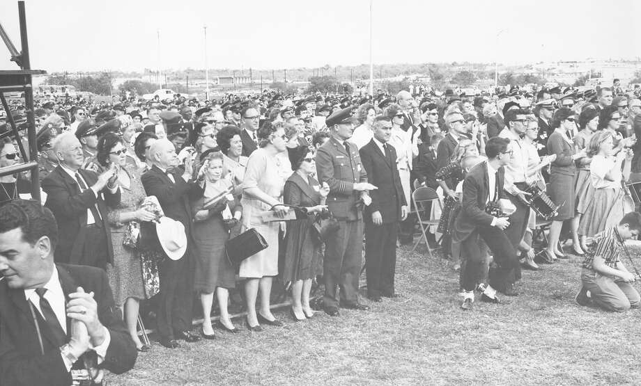 The crowd applauds after President John F. Kennedy speaks at the dedication ceremonies of the Aerospace Medical Center at Brooks Air Force Base, San Antonio, Nov. 21, 1963. Photo: San Antonio Express-News File Photo