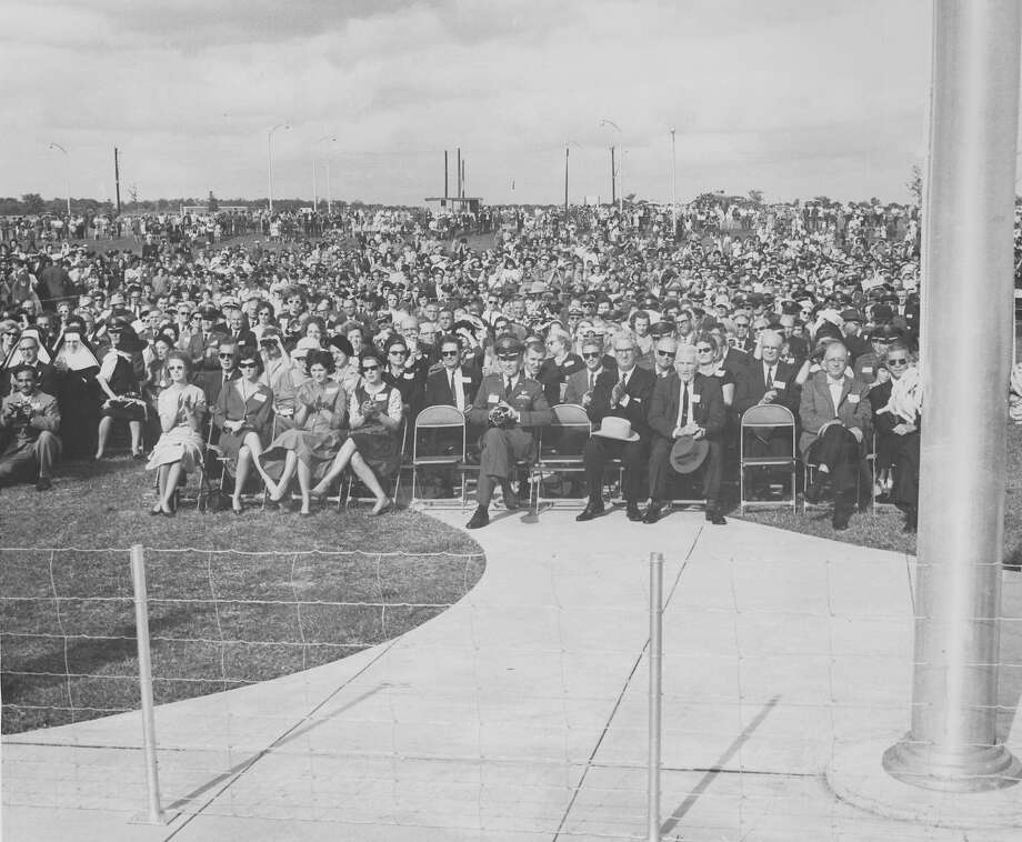 The crowd listens as President John F. Kennedy speaks at the dedication ceremonies of the Aerospace Medical Center at Brooks Air Force Base, San Antonio, Nov. 21, 1963. Photo: San Antonio Express-News File Photo
