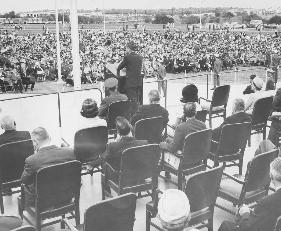 President John F. Kennedy speaks at dedication ceremonies of the Aerospace Medical Center at Brooks Air Force Base, San Antonio, Nov. 21, 1963. Photo: San Antonio Express-News File Photo