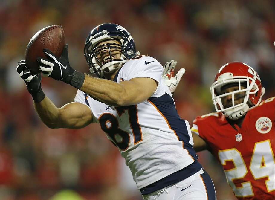 Eric Decker beats the Chiefs' Brandon Flowers during the Broncos' rally from a 21-7 deficit. Photo: Ed Zurga, Associated Press