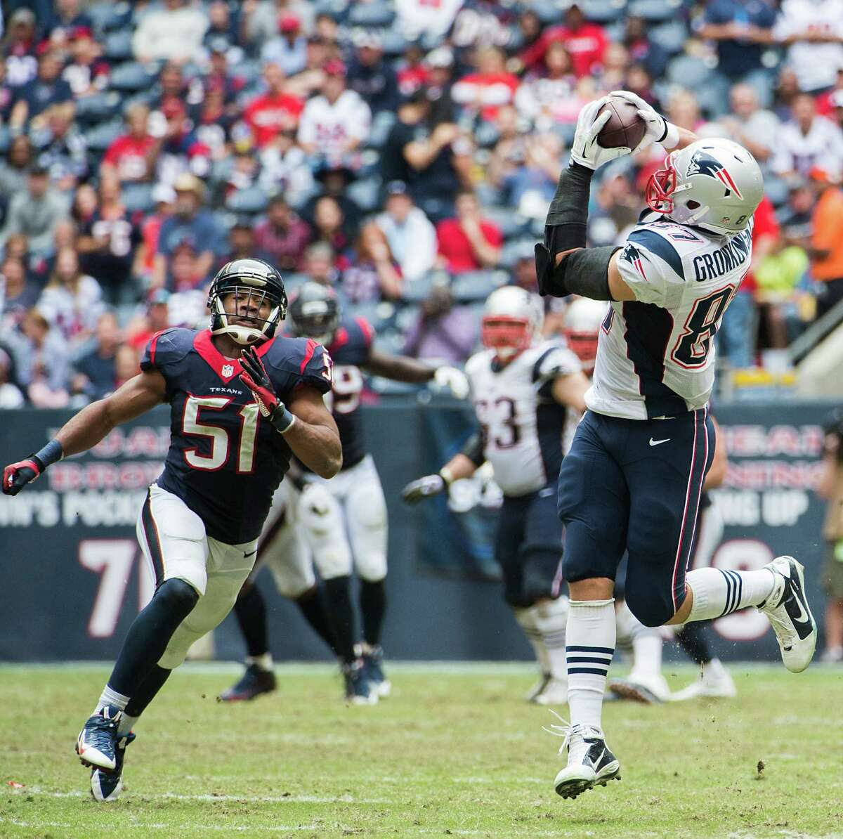 After stifling the Patriots in the first half, the Texans greet an unwanted duty in the second - chasing down the recipients of Tom Brady's numerous completions.
