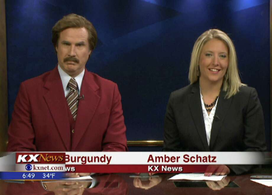 Will Ferrell as Ron Burgundy co-anchors the KX News evening broadcast Saturday with Amber Schatz in Bismarck, N.D. Photo: Handout / 2013 KXMB TV Bismarck