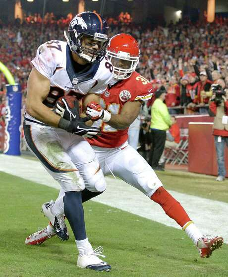 Broncos receiver Eric Decker was a home wrecker Sunday at Arrowhead Stadium, beating Chiefs corner Marcus Cooper for one of his four touchdown catches. Photo: JOHN SLEEZER, MBR / Kansas City Star