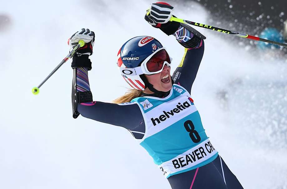 Mikaela Shiffrin raises her arms after crossing the finish line on her second run during the women's World Cup giant slalom skiing event, in Beaver Creek, Colo., Sunday, Dec. 1, 2013. Shiffrin finished second place.  Photo: Alessandro Trovati, Associated Press