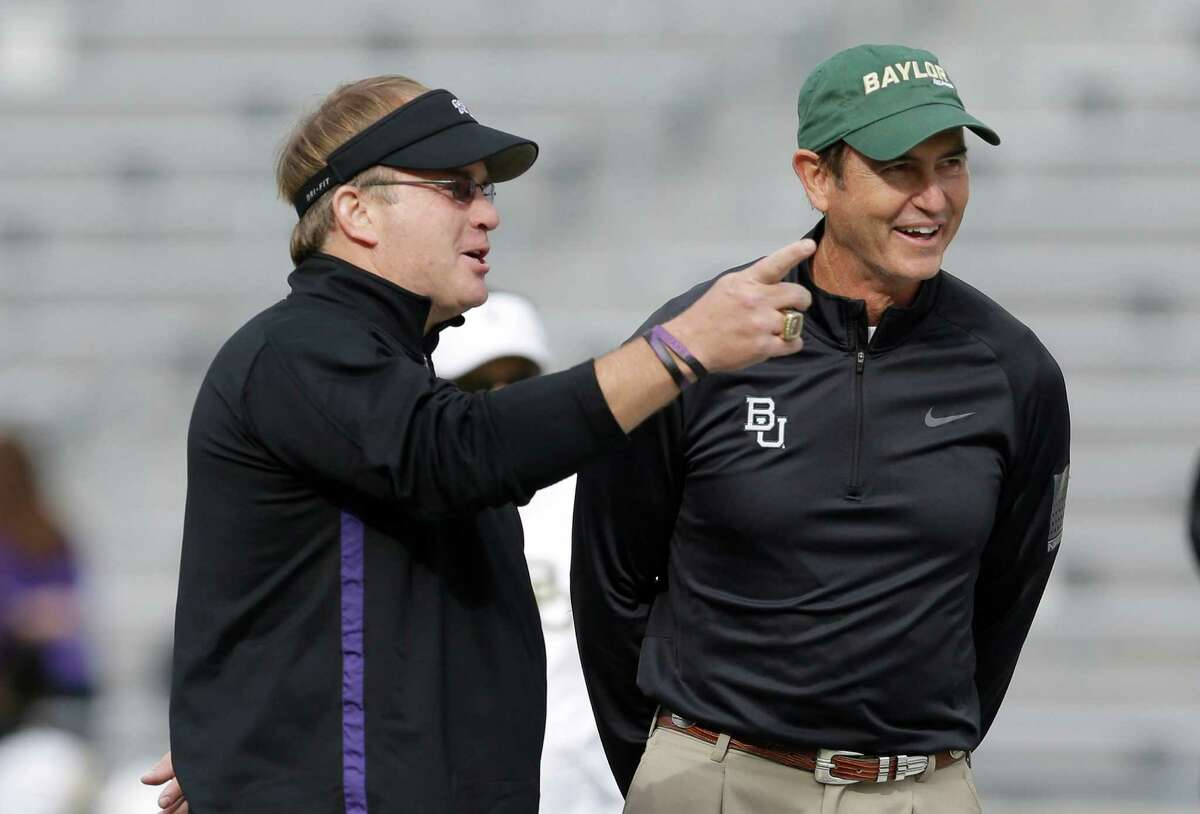 TCU coach Gary Patterson, left, and Baylor counterpart Art Briles were in good spirits when they visited before Saturday's game, at left, but the belated departure of Baylor safety Ahmad Dixon, at right, after an ejection for targeting set off a war of words during and after the Bears' 41-38 victory.