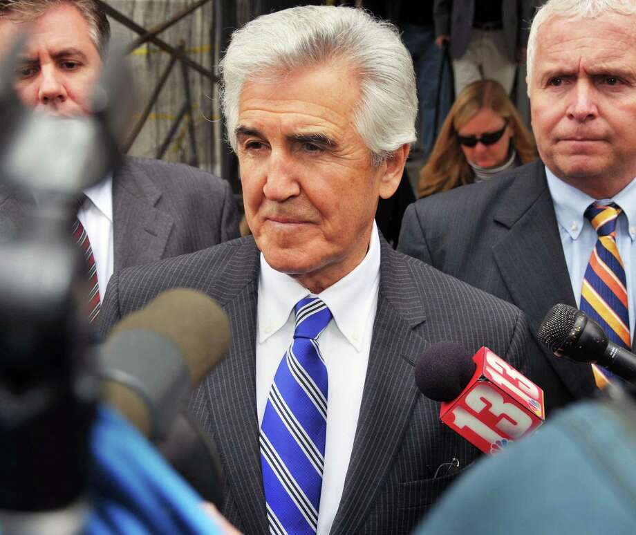 Ex-state Senate Majority Leader Joseph Bruno, center, speaks to reporters during a lunch break in his trial in U.S. District Court in Albany Thursday November 5, 2009.  (John Carl D'Annibale / Times Union) ORG XMIT: MER2013120208172107 Photo: John Carl D'Annibale / 00006289A
