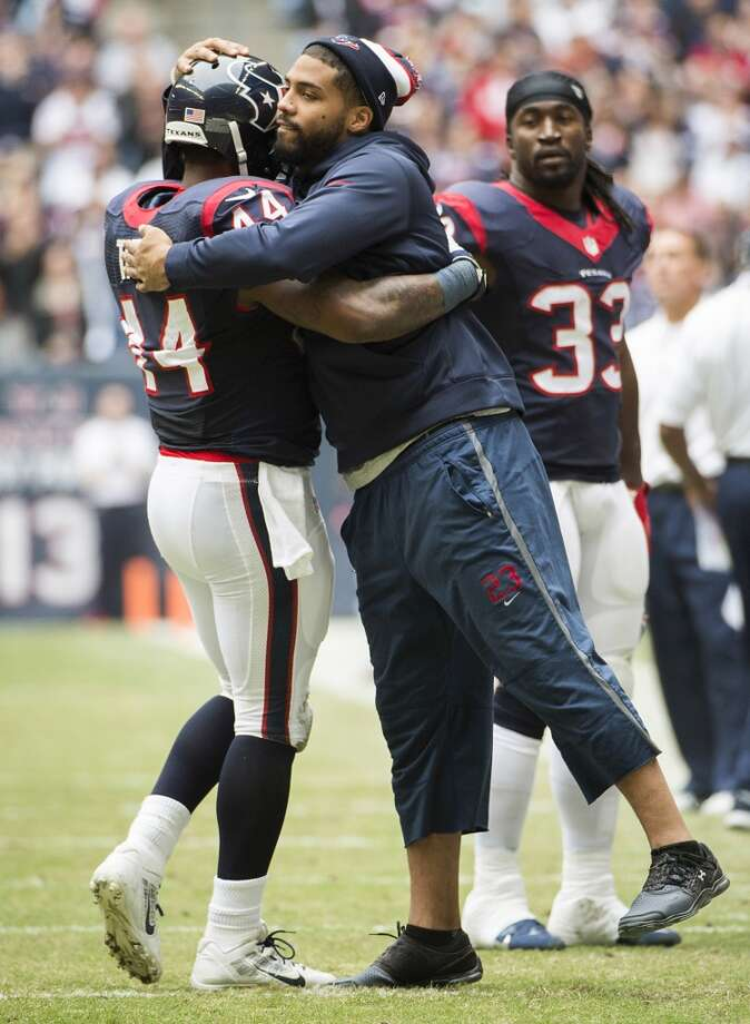 Texans running back Ben Tate celebrates with Arian Foster after scoring on an 8-yard touchdown run. Photo: Smiley N. Pool, Houston Chronicle