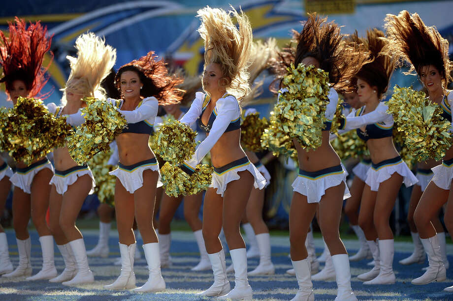 The San Diego Chargers Cheerleaders perform in between quarters during the game against # of the Cincinnati Bengals on December 1, 2013 at Qualcomm Stadium in San Diego, California. Photo: Donald Miralle, Getty Images / 2013 Getty Images
