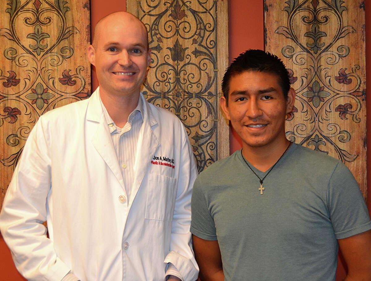 Dr. Jon Mathy, a plastic surgeon, with patient Bryan Godoy.