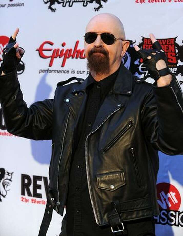 "Rob Halford, former frontman for metal band Judas Priest: During a 1998 MTV interview, Halford (who had never actually hidden his sexual orientation) made the declaration ""Speaking as a gay man ..."" As he later put it, ""the producer dropped his clipboard. I didn't really consider the magnitude of that moment, quite frankly. I just carried on and then, of course, the phones started ringing."" (Photo by Frazer Harrison/Getty Images)"