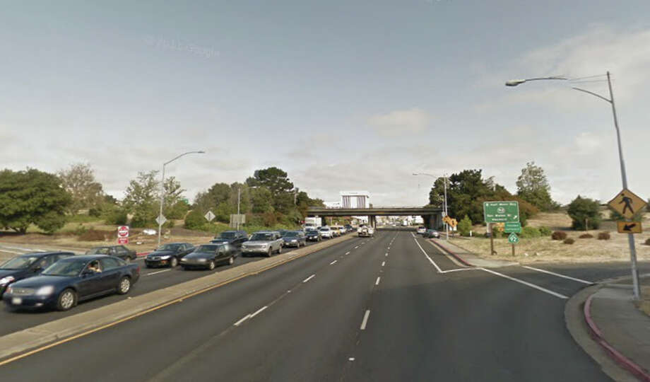 A pedestrian died after being struck  on southbound El Camino Real near the Highway 92 overpass in San Mateo. Photo: Google Maps