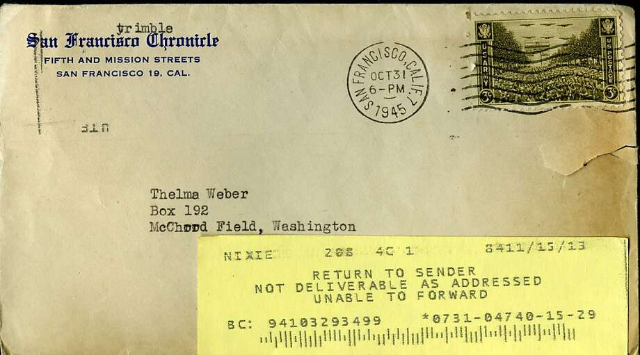 An envelope containing 3 postmarked stamps apparently sent from The Chronicle in 1945 was recently returned. Photo: The Chronicle