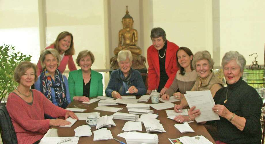 """Planning the Darien Community Association's 2014 Academic Lecture Series on Global Issues, entitled """"China Changes the Guard,"""" are, from left, Margy Anderson, Susan Bhirud, Robin Harvey, Sallie Raleigh, Lois Baylis, Ginny Mordy Aand lison von Klemperer Christy. Photo: Contributed Photo, Contributed / Darien News"""