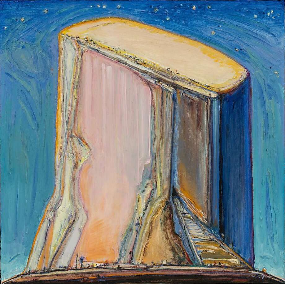 """Night Mesa""(2011-13), oil on board by Wayne Thiebaud, presents an almost-biteable centerpiece. Photo: Unknown"