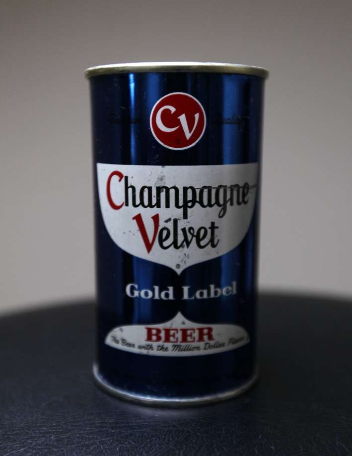 A can of Champagne Velvet beer which is part of Ken Knisely's beer can and beer memorabilia collection Wednesday, Nov. 27, 2013, in Houston.  ( James Nielsen / Houston Chronicle ) Photo: James Nielsen, Houston Chronicle