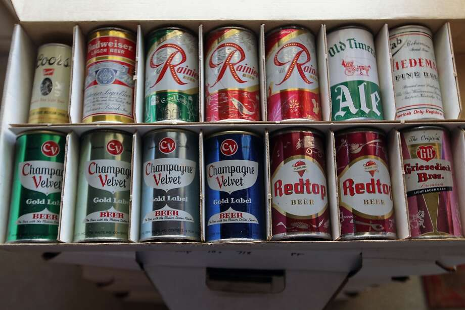 A box of beer cans which is part of Ken Knisely's beer can and beer memorabilia collection Wednesday, Nov. 27, 2013, in Houston.  ( James Nielsen / Houston Chronicle ) Photo: James Nielsen, Houston Chronicle