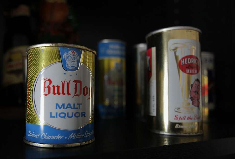 A can of Bull Dog Malt Liquor which is part of Ken Knisely's beer can and beer memorabilia collection Wednesday, Nov. 27, 2013, in Houston.  ( James Nielsen / Houston Chronicle ) Photo: James Nielsen, Houston Chronicle