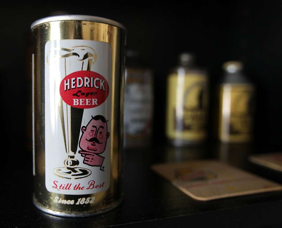 A can of Hedrick beer which is part of Ken Knisely's beer can and beer memorabilia collection Wednesday, Nov. 27, 2013, in Houston.  ( James Nielsen / Houston Chronicle ) Photo: James Nielsen, Houston Chronicle