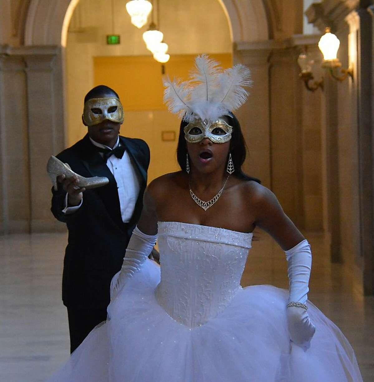 """Kimille Stingily as Cinderella and Dedrick Weathersby as Prince Chraming in Afridan-American Shakespeare's """"Cinderella"""""""
