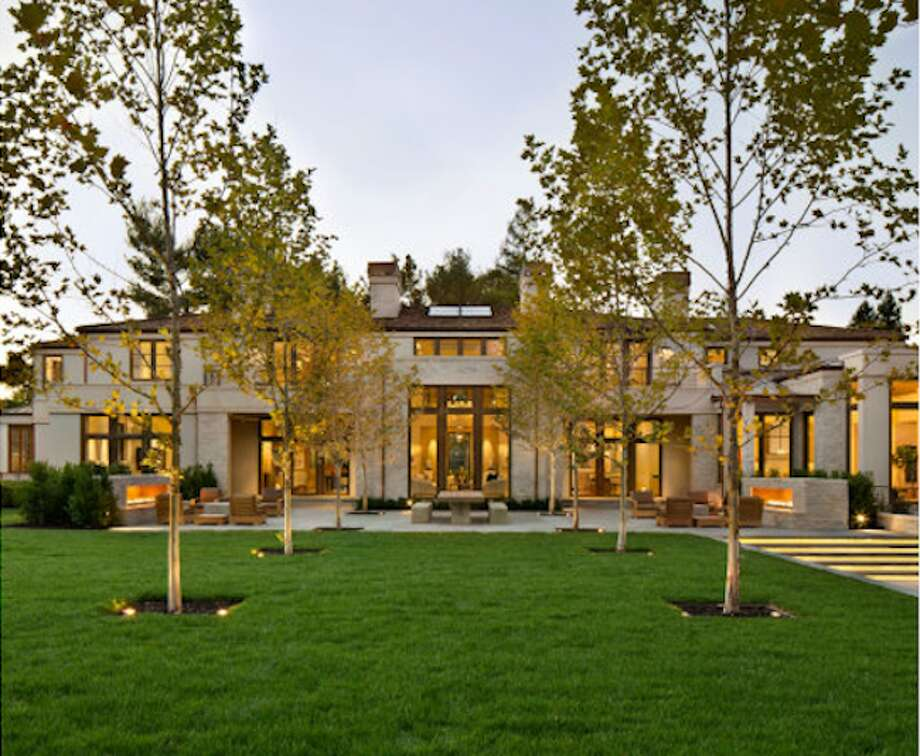 From the front, the huge abode. Photos via Trulia and Pacific Peninsula Group.