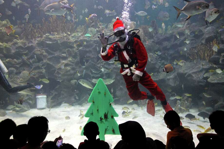A diver dressed as a Santa Claus gestures to visitors as part of upcoming Christmas celebrations at Aquaria KLCC underwater park in Kuala Lumpur, Malaysia, Monday, Dec. 2, 2013. Photo: Lai Seng Sin, Associated Press / AP