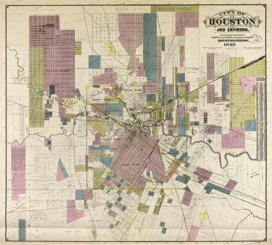 Map #93486 is a newly available 1895 map of Houston. It was donated byWarren H. Outlaw III in memory of Warren H. Outlaw Jr. Photo: Texas General Land Office