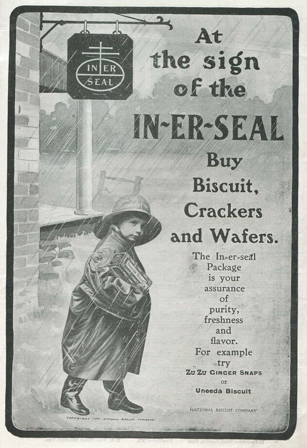 This National Biscuit Company ad shows that idea to put the biscuits, crackers and wafers in protective plastic sleeves isn't new. Photo: Jay Paull, Getty Images / Archive Photos
