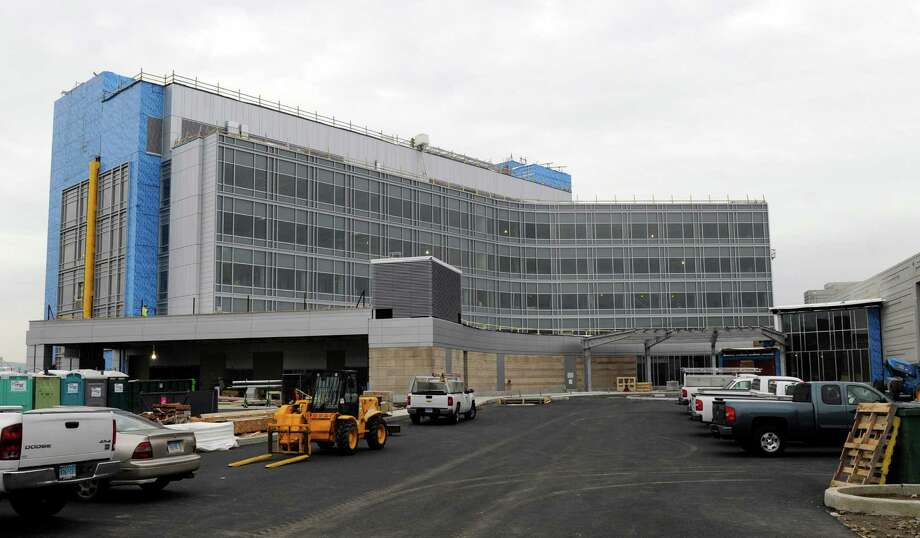 Danbury Hospital's new emergency department will have bays for arriving ambulances on the left and an ambulatory patients' entrance on the right. Photo: Carol Kaliff / The News-Times