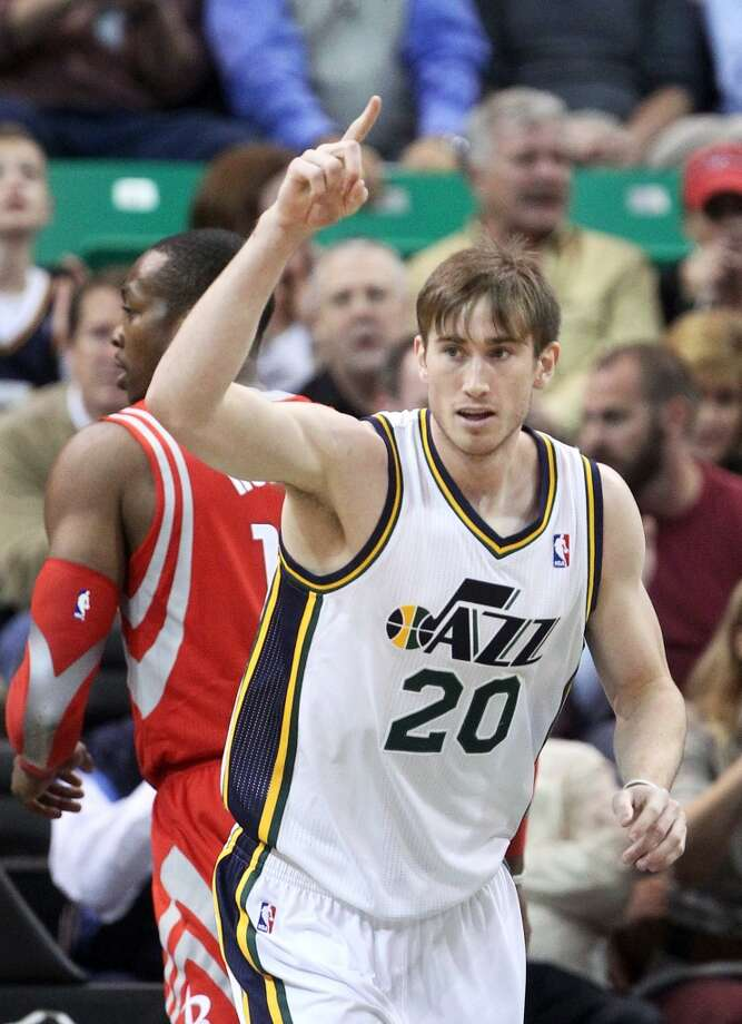 Gordon Hayward of the Jazz reacts after making a shot against the Rockets. Photo: Rick Bowmer, Associated Press