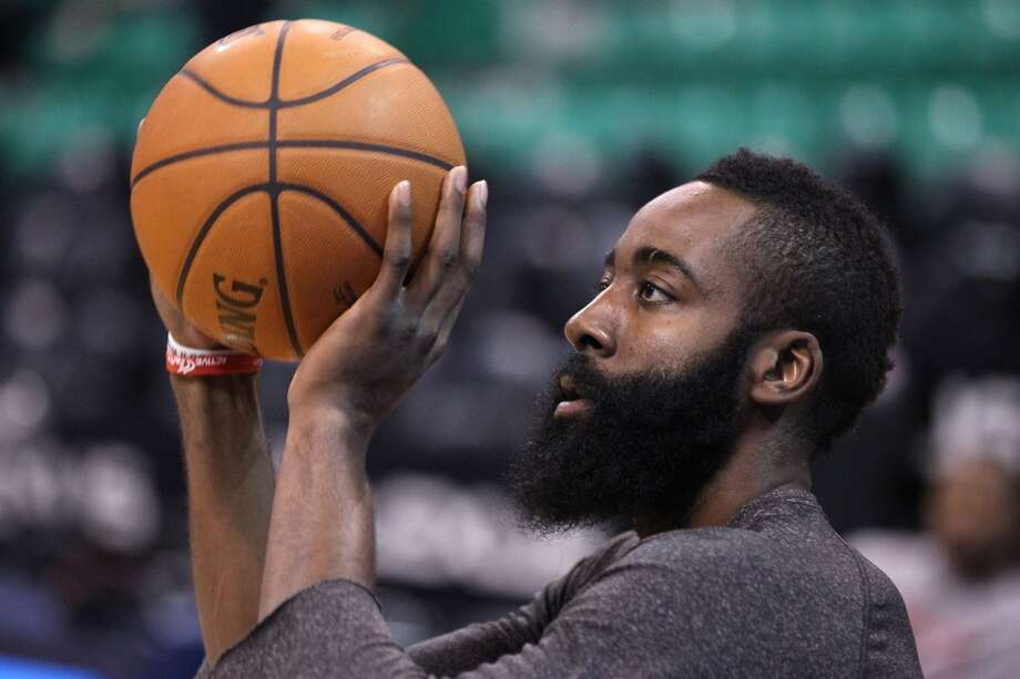 Rockets shooting guard James Harden warms up before playing the Jazz. Photo: Rick Bowmer, Associated Press