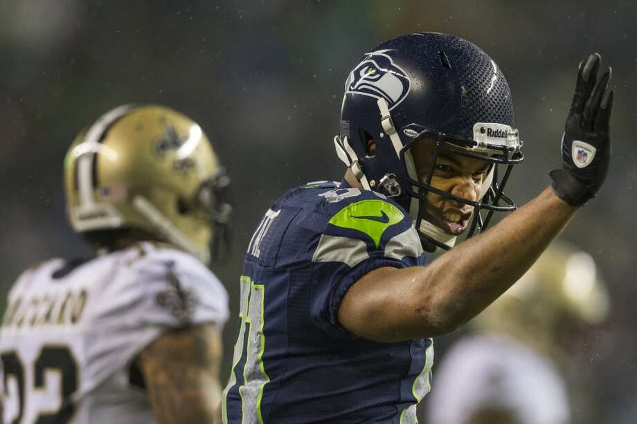 Seahawk Golden Tate takes aim at the end zone during the first half of game against the Saints Monday, Dec. 2, 2013, at CenturyLink Field in Seattle. The Seahawks led the Saints 27-7 at the end of the first half. Photo: JORDAN STEAD, SEATTLEPI.COM