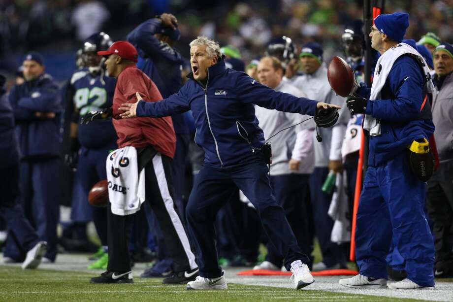 Seahawks coach Pete Carroll reacts to a call by officials during an NFL game against the Saints on Monday, Dec. 2, 2013, at CenturyLink Field in Seattle. Photo: JOSHUA TRUJILLO, SEATTLEPI.COM
