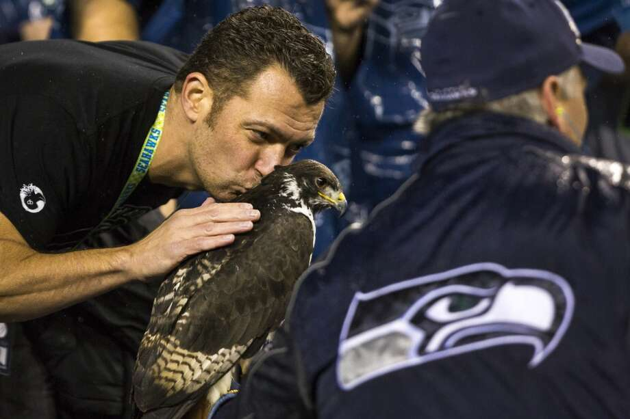 Fans kiss the hawk during the first half of a Seahawks game Monday, Dec. 2, 2013, at CenturyLink Field in Seattle. The Seahawks led the Saints 27-7 at the end of the first half. Photo: JORDAN STEAD, SEATTLEPI.COM
