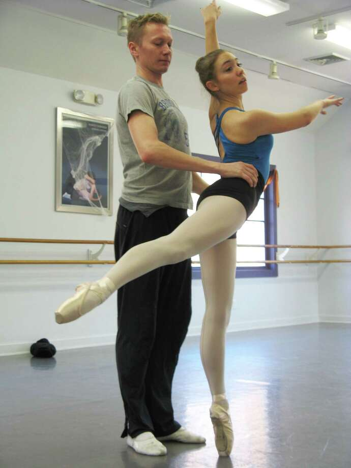 Jessica Riniti, rehearsing for her role as the Sugar Plum Fairy with partner Vitali Kraushenka. Photo: Contributed Photo / Westport News