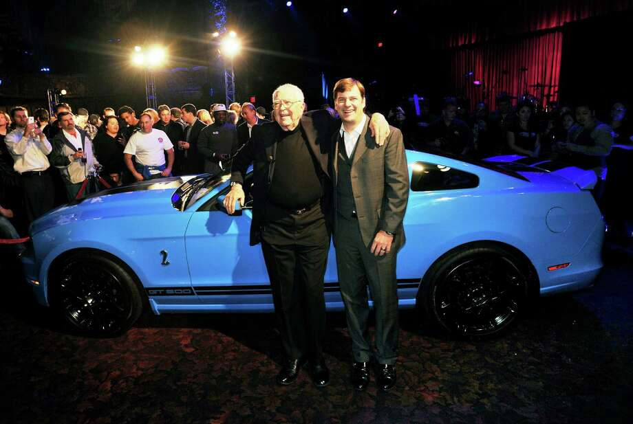 Automotive legend Carroll Shelby (left) joins Jim Farley, Ford group vice president of marketing, sales and service, on the eve of the 2011 Los Angeles Auto Show at the Belasco Theater for the launch of the 2013 Shelby GT500.   Your thoughts on the new Mustang trio? Photo: Ford Motor Co. / © 2011 Ford Motor Company