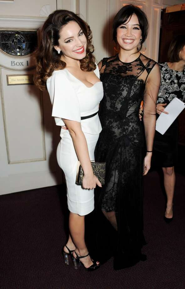Kelly Brook (L) and Daisy Lowe attend the British Fashion Awards 2013 drinks reception at the London Coliseum on December 2, 2013 in London, England.  (Photo by David M. Benett/Getty Images) Photo: David M. Benett, Getty Images