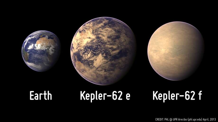 Kepler 62e and 62f compared with the Earth. UW astronomer Eric Agol found 62f.  A University of Washington astronomer has discovered perhaps the most Earth-like planet yet found outside the solar system by the Kepler Space Telescope.  Eric Agol, a UW associate professor of astronomy, has identified Kepler 62f, a small, probably rocky planet orbiting a sunlike star in the Lyra constellation. The planet is about 1.4 times the size of Earth, receives about half as much solar flux, or heat and radiation, as Earth and circles its star in 267.3 (Earth) days. Photo: Planetery Habitability Laboratory