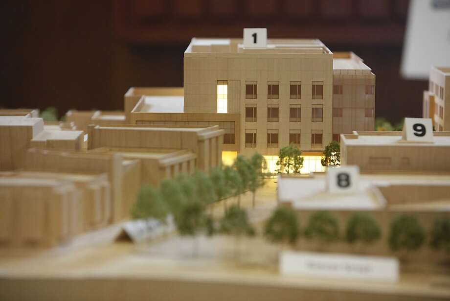 The model of a seismically safe California Pacific Medical Center is seen at St. Luke's Hospital in March. Photo: Lea Suzuki, The Chronicle