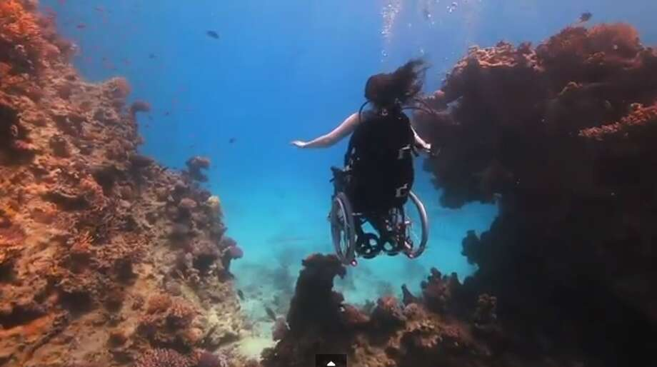 A still from one of Sue Austin's dive videos. (http://www.youtube.com/watch?v=IPh533ht5AU)