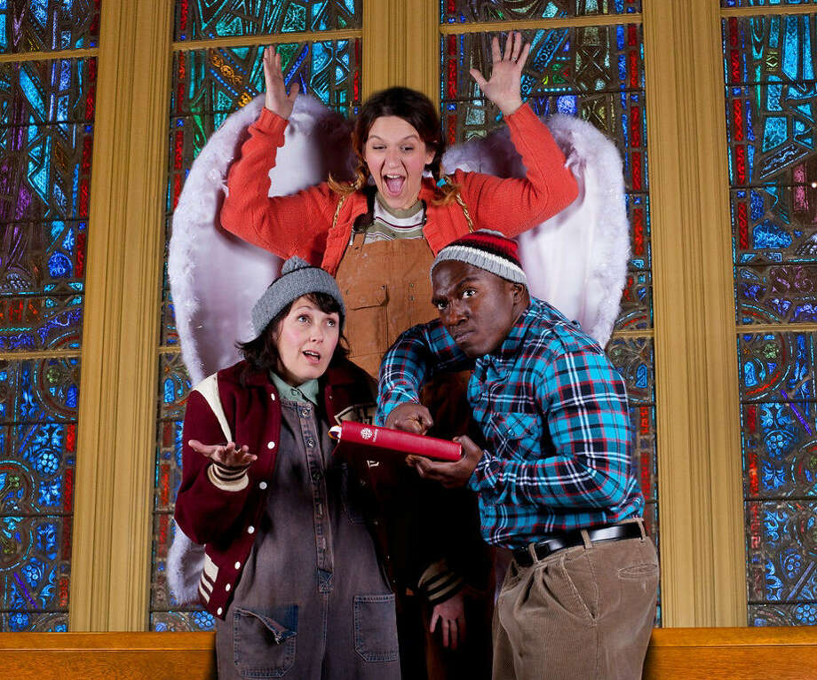 "Becky King (clockwise from left), Ariel Rosen and James ""Apollo"" Bradley shine as members of a rough-and-tumble family hearing the Christmas story for the first time. Photo: Courtesy Tracey Maurer"