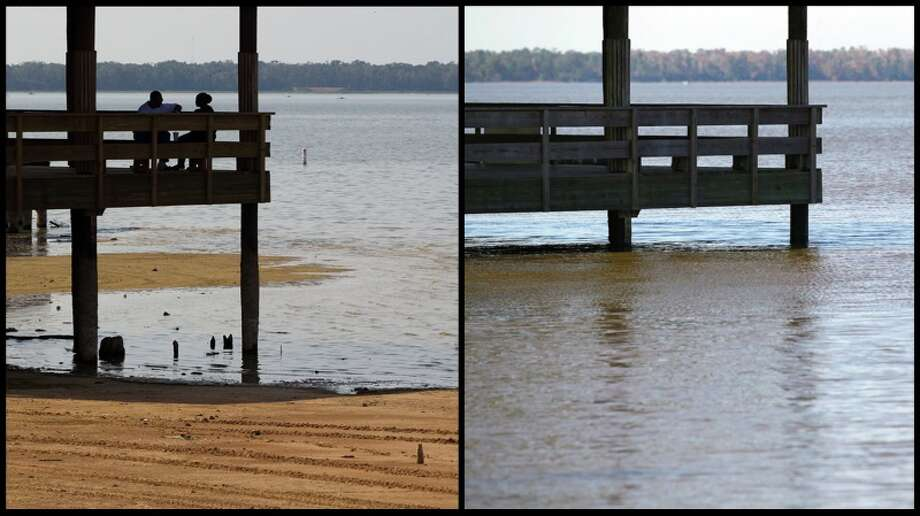 A before and after shot of a gazebo by Lake Houston in Alexander Deussen Park Tuesday, Dec. 3, 2013. Photo: Photos By Smiley N. Pool And Johnny Hanson, Houston Chronicle