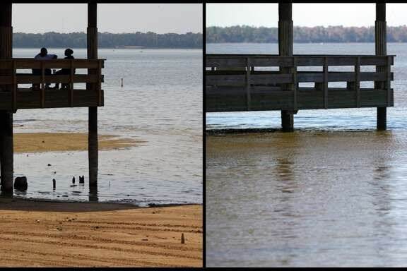 A before and after shot of a gazebo by Lake Houston in Alexander Deussen Park Tuesday, Dec. 3, 2013.