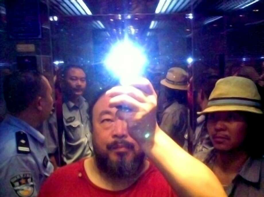 Ai Weiwei in the elevator when taken into custody by the police, Sichuan, China, 2009; photo courtesy the artist Photo: Courtesy Ai Weiwei, Same