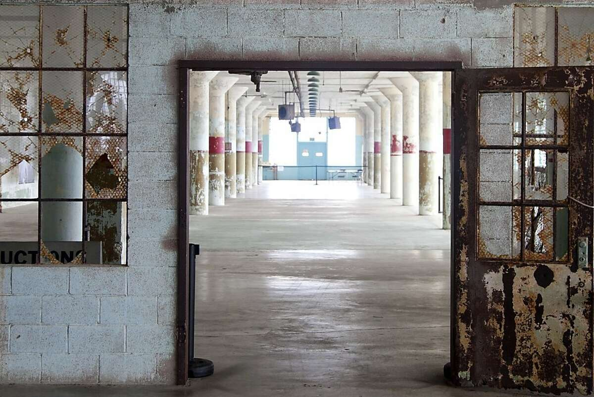 First floor of the New Industries Building at Alcatraz, site of the exhibition Ai Weiwei on Alcatraz (September 27, 2014 April 26, 2015); photo: Jan Strmann, courtesy FOR-SITE Foundation