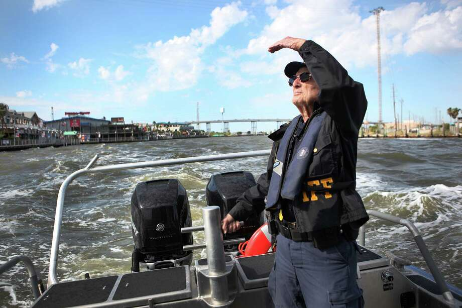 "Lt. Tom Morgan, 93, watches over Clear Lake as a reserve deputy in the Harris County Sheriff's marine division. He says activity is key to a long life. ""I don't want to loaf around and watch TV."" Photo: Marie D. De Jesus, Staff / © 2013 Houston Chronicle"