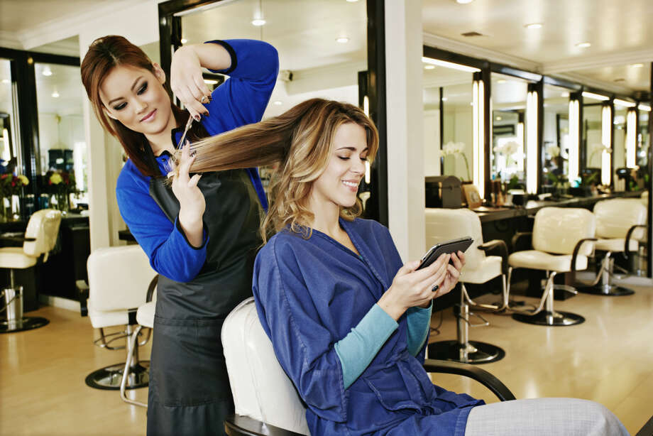 "17. Hairdressers, make-up artists, skin care specialists and other ""personal appearance workers"" have rosy prospects, with jobs growing at 2.3 percent a year. About 11,000 people work in this field.  Photo: Peathegee Inc, Getty Images / Blend Images"