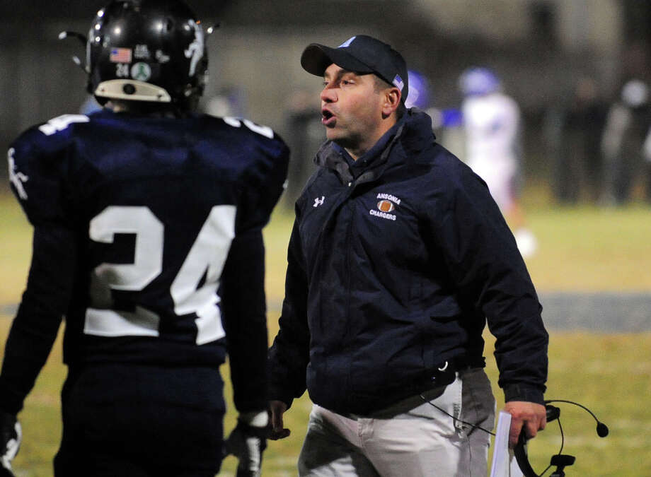 Ansonia Head Coach Thomas Brockett, during Class football playoff action against Coginchaug in Ansonia, Conn. on Tuesday December 3, 2013. Photo: Christian Abraham / Connecticut Post